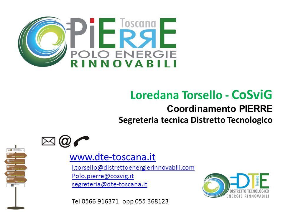 Loredana Torsello - CoSviG Coordinamento PIERRE Segreteria tecnica Distretto Tecnologico www.dte-toscana.it l.torsello@distrettoenergierinnovabili.com
