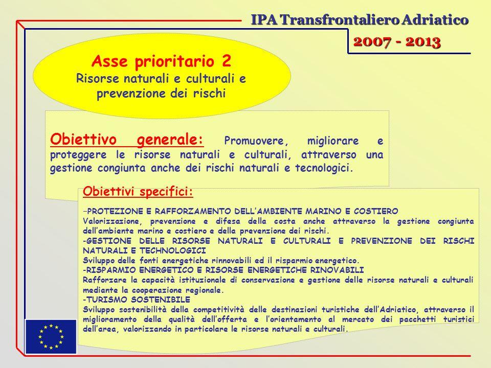 IPA Transfrontaliero Adriatico 2007 - 2013 Obiettivo generale: Promuovere, migliorare e proteggere le risorse naturali e culturali, attraverso una gestione congiunta anche dei rischi naturali e tecnologici.