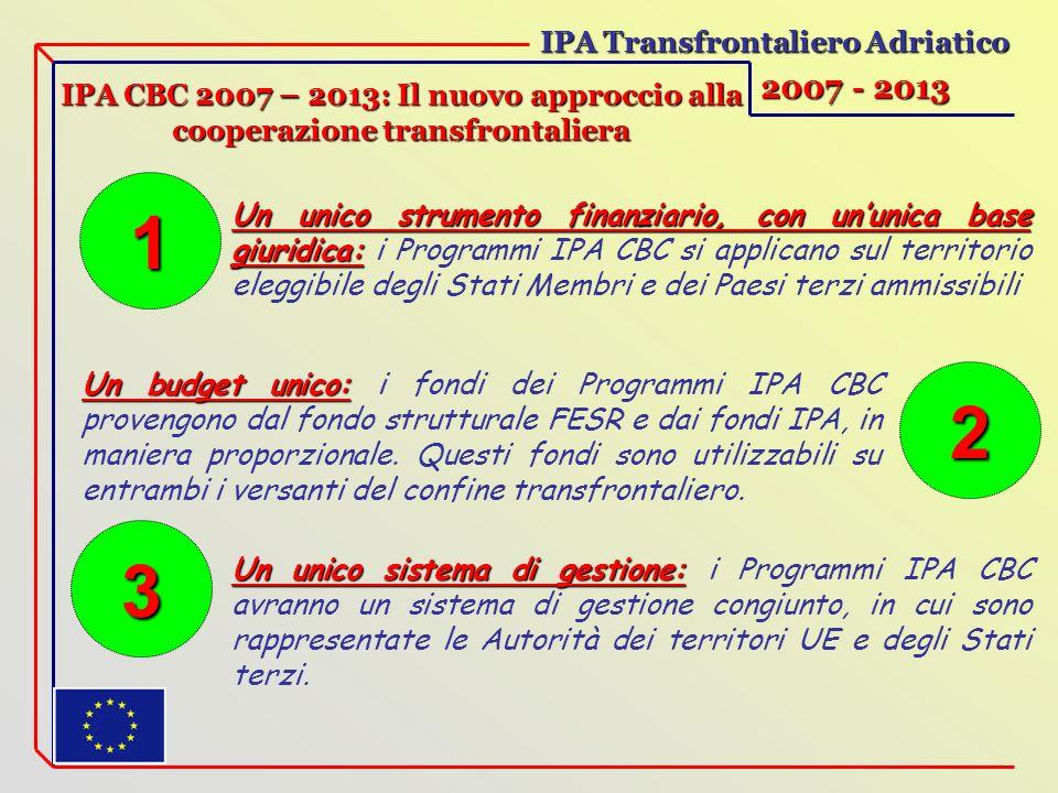 IPA Transfrontaliero Adriatico 2007 - 2013 IPA CBC 2007 – 2013: Il nuovo approccio alla cooperazione transfrontaliera Un unico strumento finanziario, con ununica base giuridica: Un unico strumento finanziario, con ununica base giuridica: i Programmi IPA CBC si applicano sul territorio eleggibile degli Stati Membri e dei Paesi terzi ammissibili Un budget unico: Un budget unico: i fondi dei Programmi IPA CBC provengono dal fondo strutturale FESR e dai fondi IPA, in maniera proporzionale.