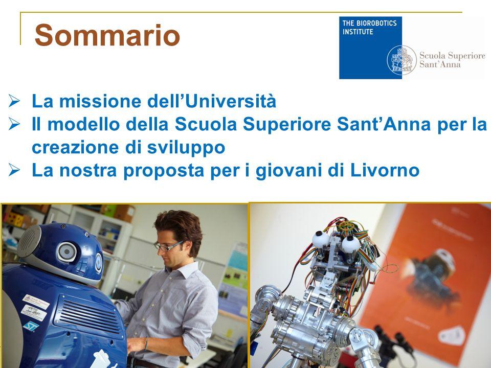 Sommario La missione dellUniversità Il modello della Scuola Superiore SantAnna per la creazione di sviluppo La nostra proposta per i giovani di Livorno