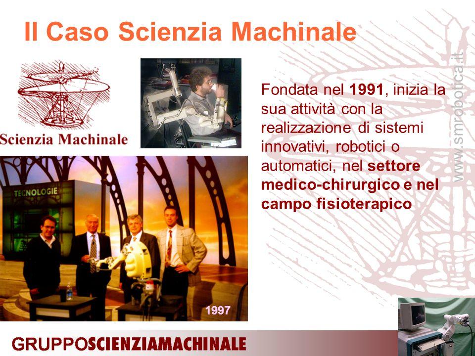 www.smrobotica.it Il Caso Scienzia Machinale Fondata nel 1991, inizia la sua attività con la realizzazione di sistemi innovativi, robotici o automatici, nel settore medico-chirurgico e nel campo fisioterapico 1997