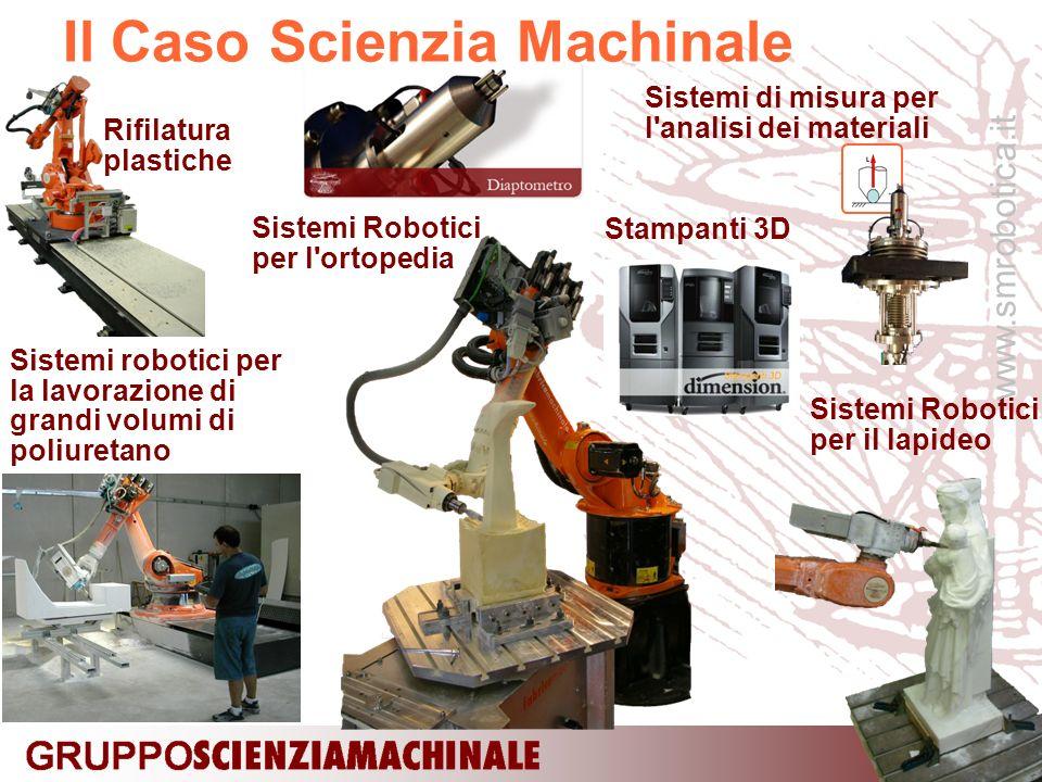 www.smrobotica.it Sistemi Robotici per il lapideo Il Caso Scienzia Machinale Sistemi robotici per la lavorazione di grandi volumi di poliuretano Sistemi Robotici per l ortopedia Rifilatura plastiche Sistemi di misura per l analisi dei materiali Stampanti 3D