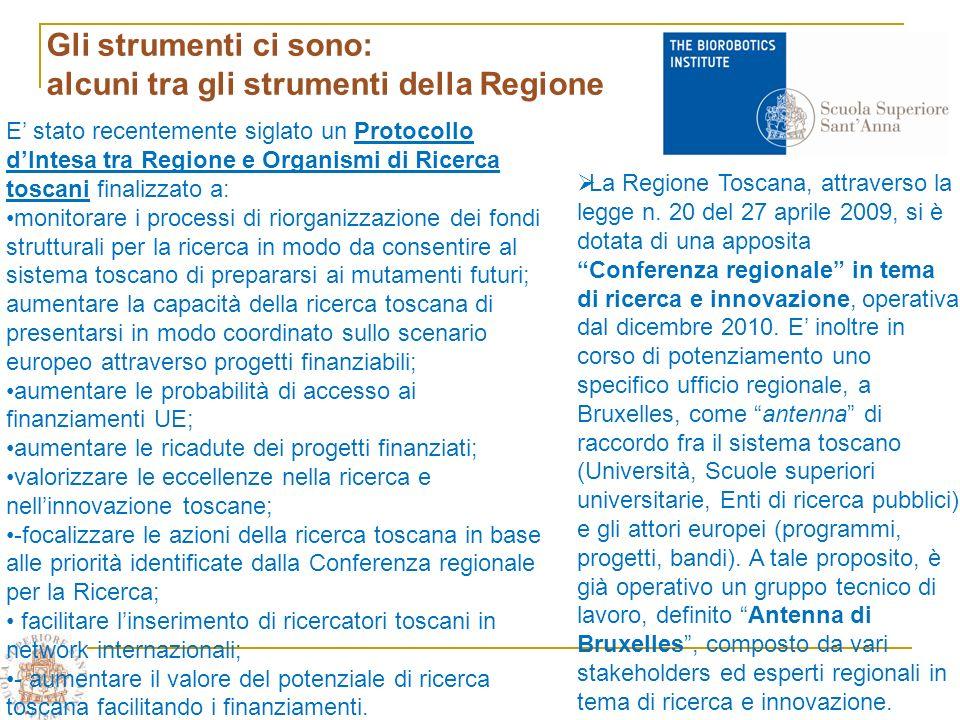 Gli strumenti ci sono: alcuni tra gli strumenti della Regione La Regione Toscana, attraverso la legge n.