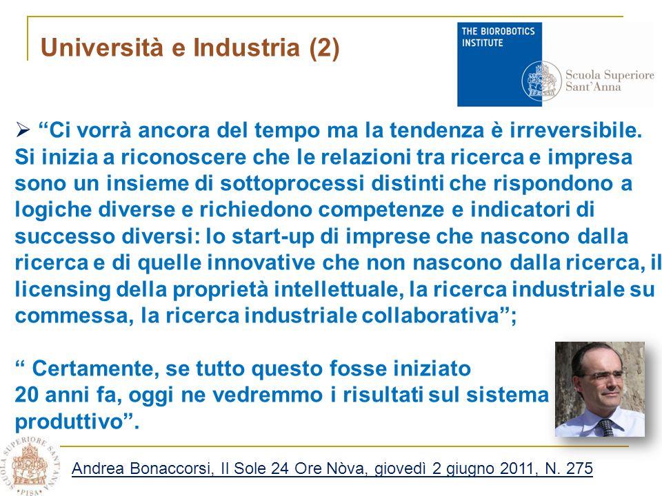 Università e Industria (2) Ci vorrà ancora del tempo ma la tendenza è irreversibile.