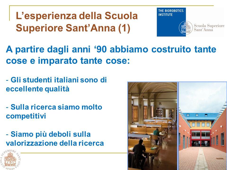 Lesperienza della Scuola Superiore SantAnna (1) A partire dagli anni 90 abbiamo costruito tante cose e imparato tante cose: - Gli studenti italiani sono di eccellente qualità - Sulla ricerca siamo molto competitivi - Siamo più deboli sulla valorizzazione della ricerca