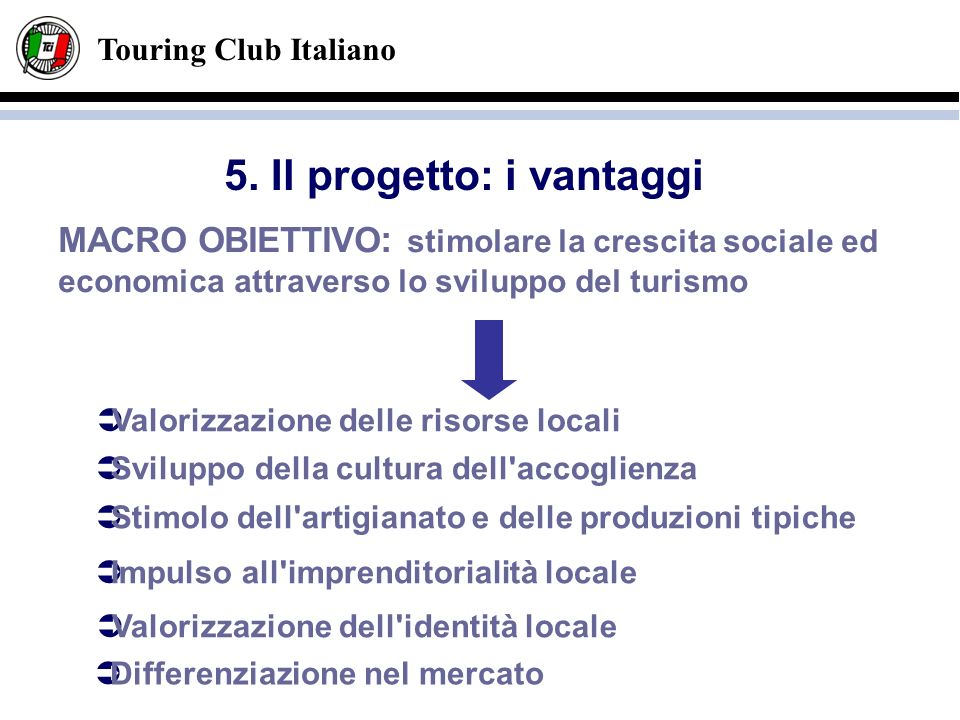 Touring Club Italiano MACRO OBIETTIVO : stimolare la crescita sociale ed economica attraverso lo sviluppo del turismo Valorizzazione delle risorse loc