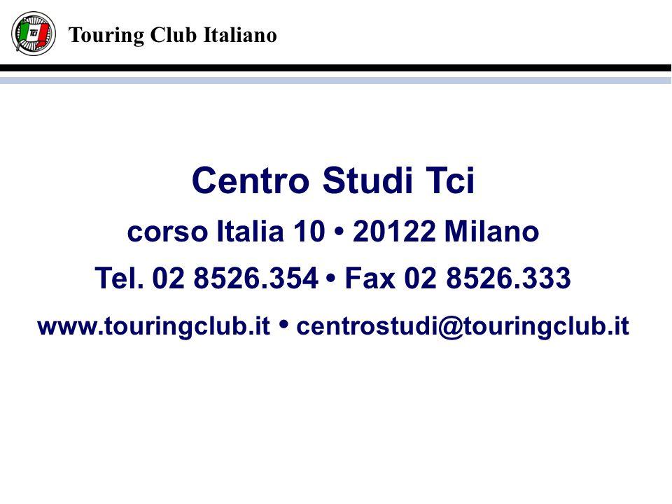 Touring Club Italiano Centro Studi Tci corso Italia 10 20122 Milano Tel. 02 8526.354 Fax 02 8526.333 www.touringclub.it centrostudi@touringclub.it