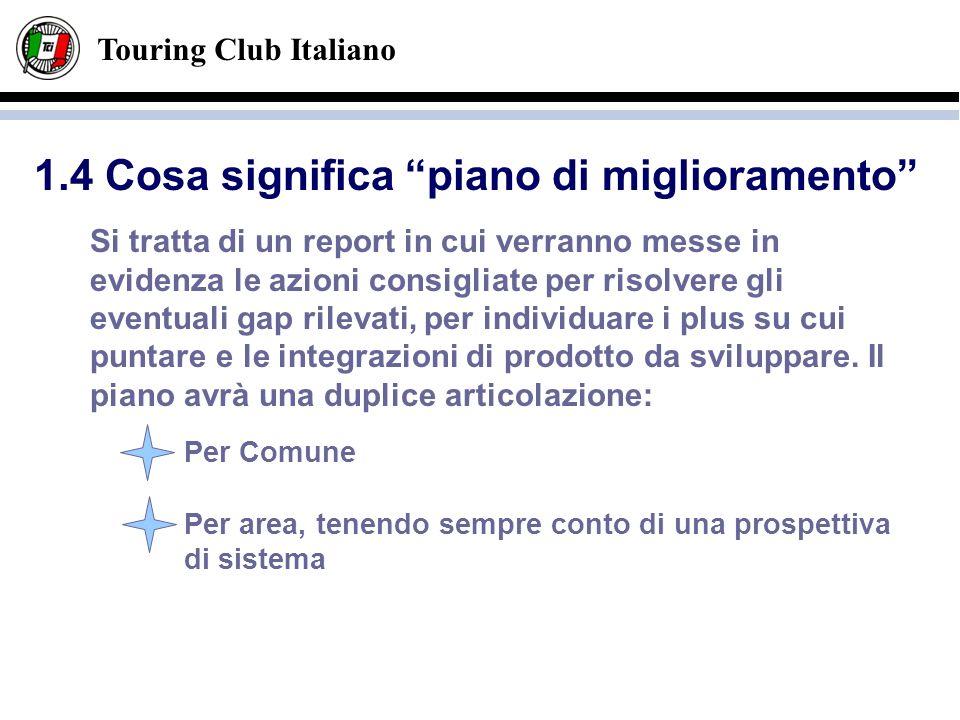 Touring Club Italiano Si tratta di un report in cui verranno messe in evidenza le azioni consigliate per risolvere gli eventuali gap rilevati, per ind