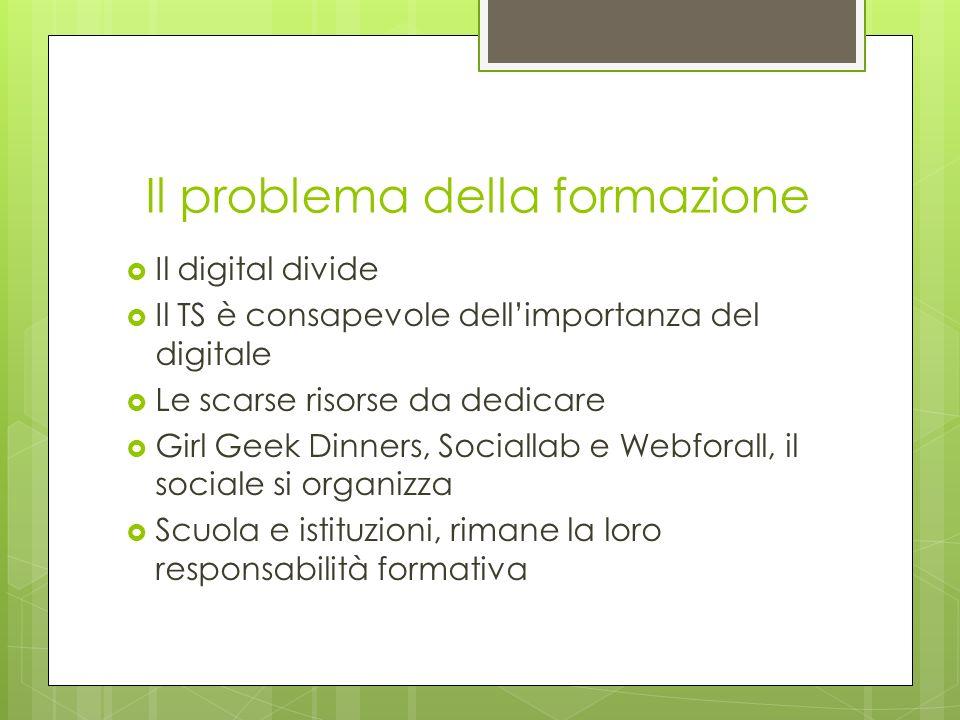 Il problema della formazione Il digital divide Il TS è consapevole dellimportanza del digitale Le scarse risorse da dedicare Girl Geek Dinners, Sociallab e Webforall, il sociale si organizza Scuola e istituzioni, rimane la loro responsabilità formativa