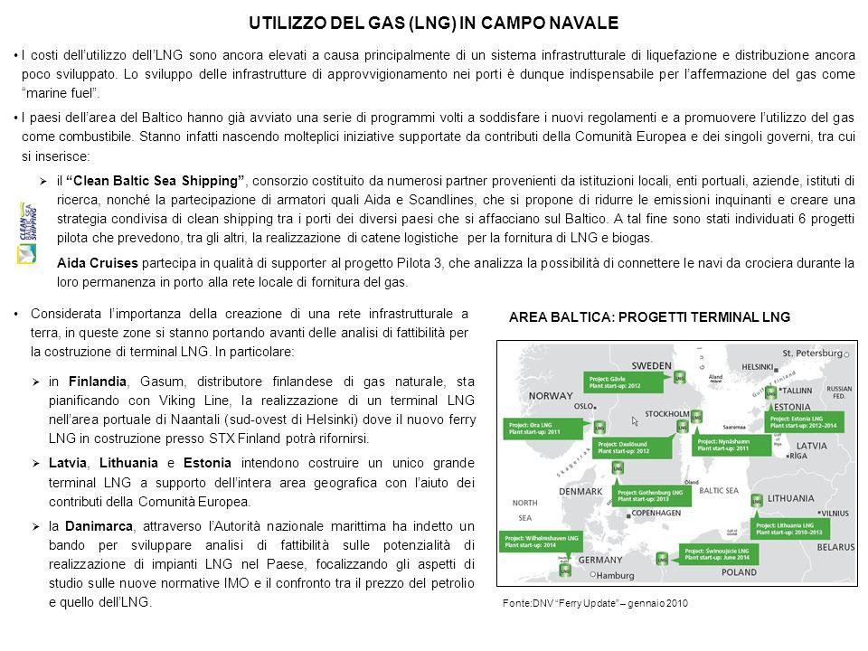 UTILIZZO DEL GAS (LNG) IN CAMPO NAVALE Considerata limportanza della creazione di una rete infrastrutturale a terra, in queste zone si stanno portando