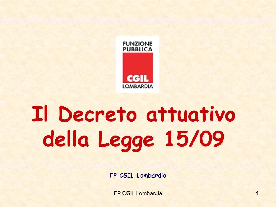 FP CGIL Lombardia1 Il Decreto attuativo della Legge 15/09 FP CGIL Lombardia