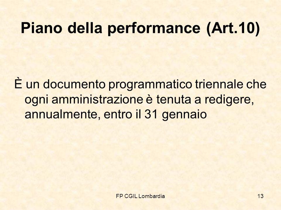 FP CGIL Lombardia13 Piano della performance (Art.10) È un documento programmatico triennale che ogni amministrazione è tenuta a redigere, annualmente, entro il 31 gennaio