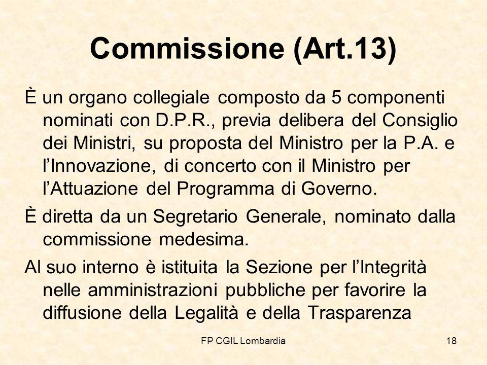 FP CGIL Lombardia18 Commissione (Art.13) È un organo collegiale composto da 5 componenti nominati con D.P.R., previa delibera del Consiglio dei Ministri, su proposta del Ministro per la P.A.