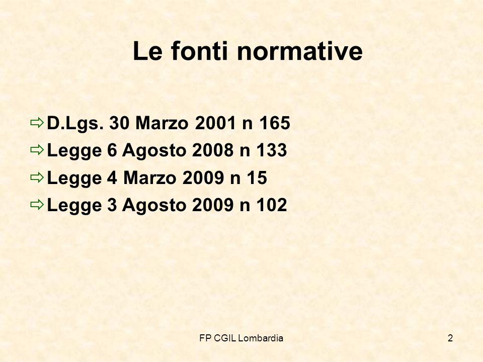 FP CGIL Lombardia43 Nuove norme generali sul lavoro nelle Pubbliche Amministrazioni (Art.