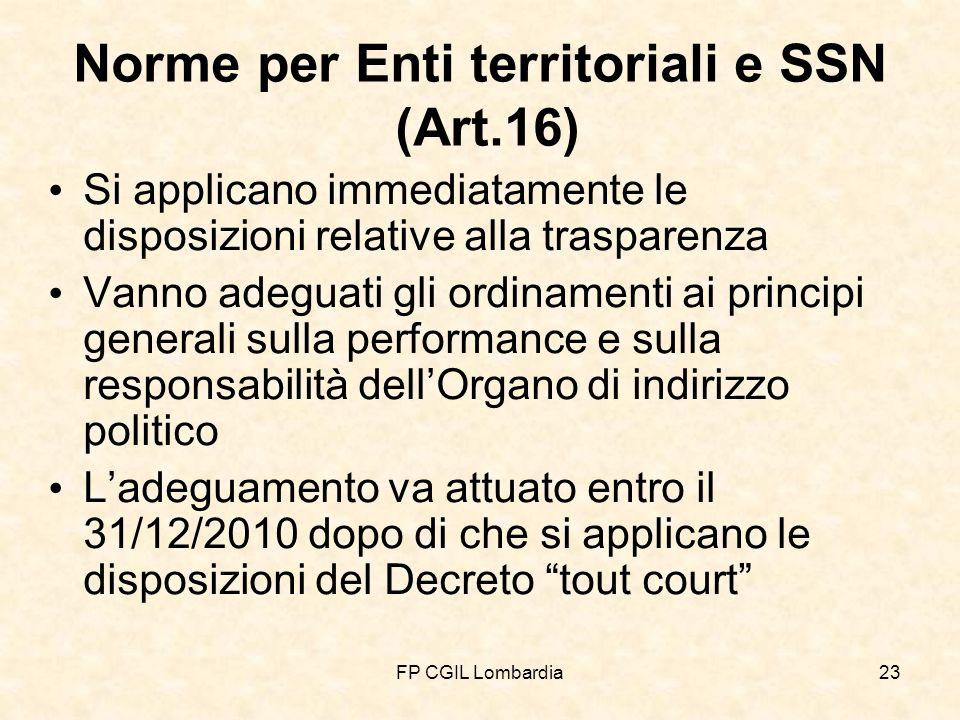FP CGIL Lombardia23 Norme per Enti territoriali e SSN (Art.16) Si applicano immediatamente le disposizioni relative alla trasparenza Vanno adeguati gli ordinamenti ai principi generali sulla performance e sulla responsabilità dellOrgano di indirizzo politico Ladeguamento va attuato entro il 31/12/2010 dopo di che si applicano le disposizioni del Decreto tout court