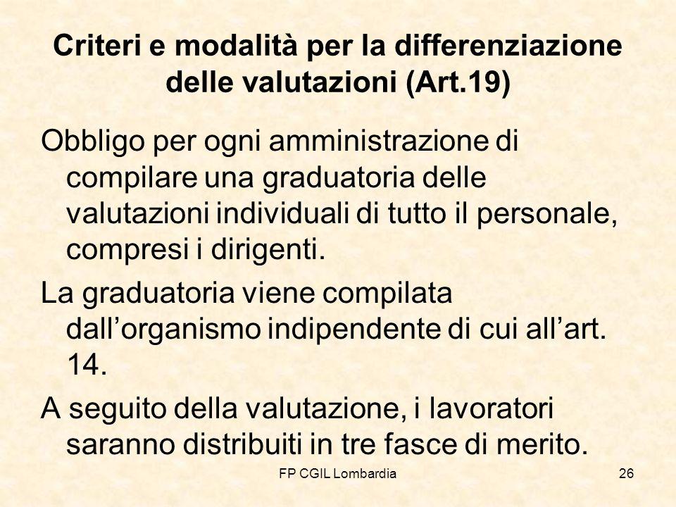 FP CGIL Lombardia26 Criteri e modalità per la differenziazione delle valutazioni (Art.19) Obbligo per ogni amministrazione di compilare una graduatoria delle valutazioni individuali di tutto il personale, compresi i dirigenti.