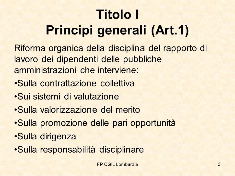 FP CGIL Lombardia4 Attenzione allart.1 della L.15/09 La stesura originale dellart.