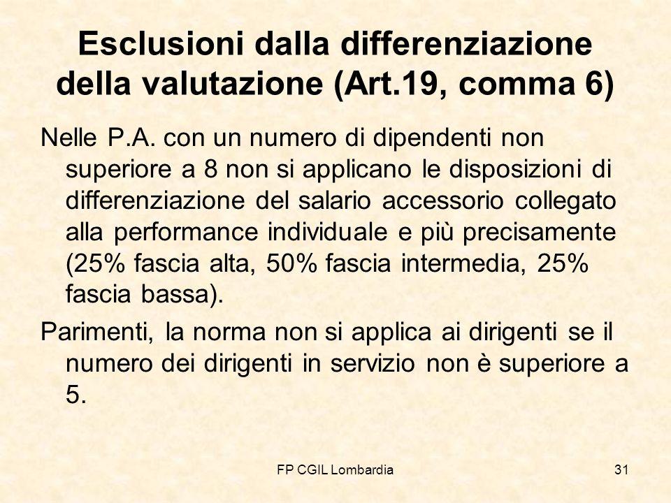 FP CGIL Lombardia31 Esclusioni dalla differenziazione della valutazione (Art.19, comma 6) Nelle P.A.