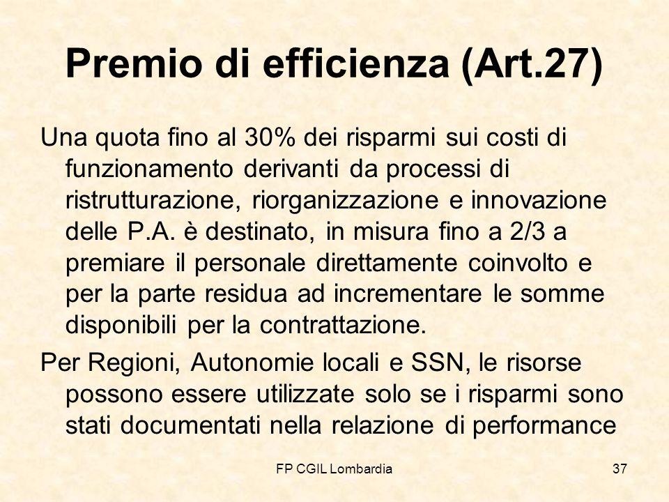 FP CGIL Lombardia37 Premio di efficienza (Art.27) Una quota fino al 30% dei risparmi sui costi di funzionamento derivanti da processi di ristrutturazione, riorganizzazione e innovazione delle P.A.