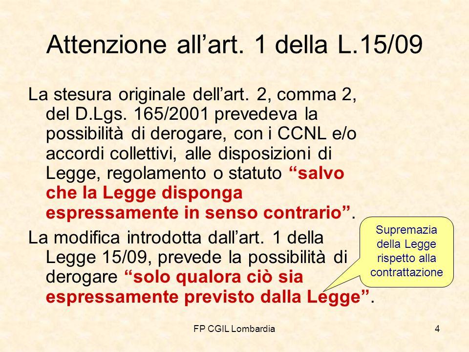 FP CGIL Lombardia4 Attenzione allart. 1 della L.15/09 La stesura originale dellart.
