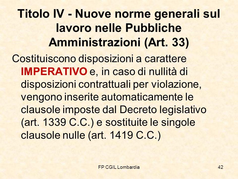 FP CGIL Lombardia42 Titolo IV - Nuove norme generali sul lavoro nelle Pubbliche Amministrazioni (Art.