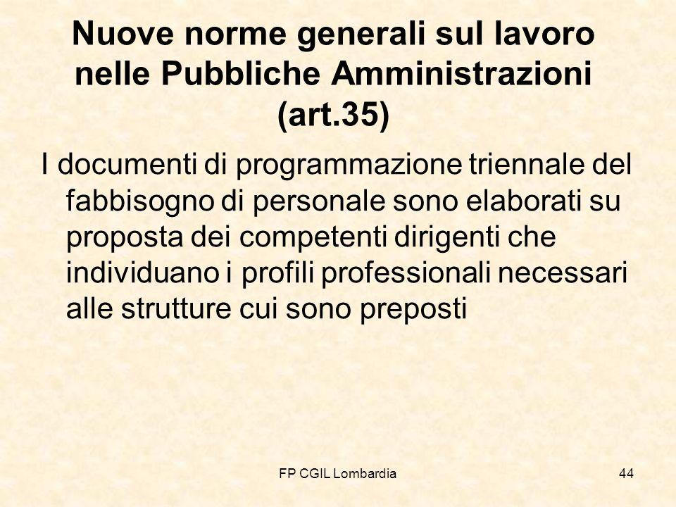 FP CGIL Lombardia44 Nuove norme generali sul lavoro nelle Pubbliche Amministrazioni (art.35) I documenti di programmazione triennale del fabbisogno di personale sono elaborati su proposta dei competenti dirigenti che individuano i profili professionali necessari alle strutture cui sono preposti
