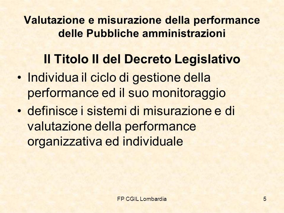 FP CGIL Lombardia5 Valutazione e misurazione della performance delle Pubbliche amministrazioni Il Titolo II del Decreto Legislativo Individua il ciclo di gestione della performance ed il suo monitoraggio definisce i sistemi di misurazione e di valutazione della performance organizzativa ed individuale