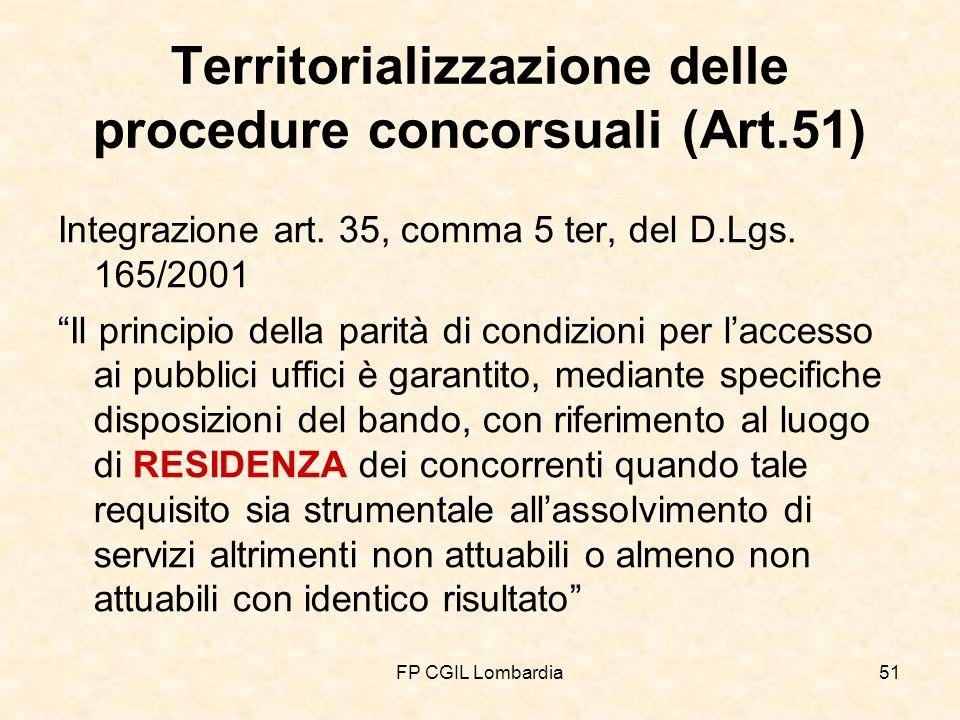 FP CGIL Lombardia51 Territorializzazione delle procedure concorsuali (Art.51) Integrazione art.