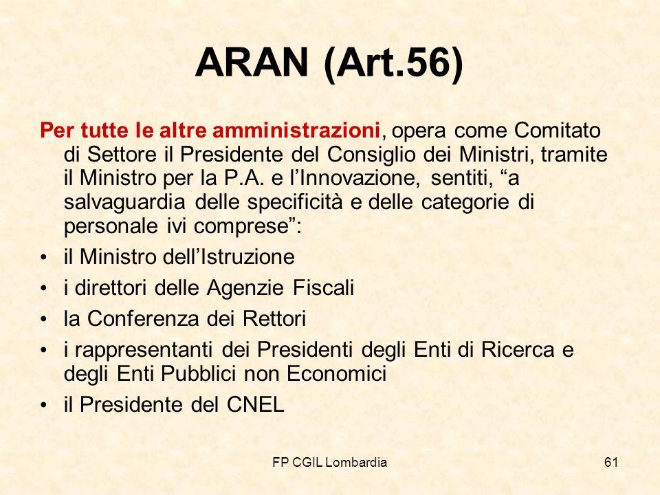 FP CGIL Lombardia61 ARAN (Art.56) Per tutte le altre amministrazioni, opera come Comitato di Settore il Presidente del Consiglio dei Ministri, tramite il Ministro per la P.A.