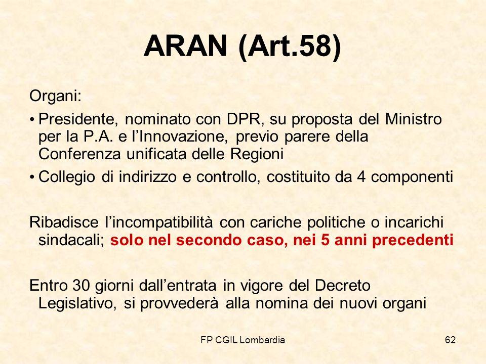 FP CGIL Lombardia62 ARAN (Art.58) Organi: Presidente, nominato con DPR, su proposta del Ministro per la P.A.