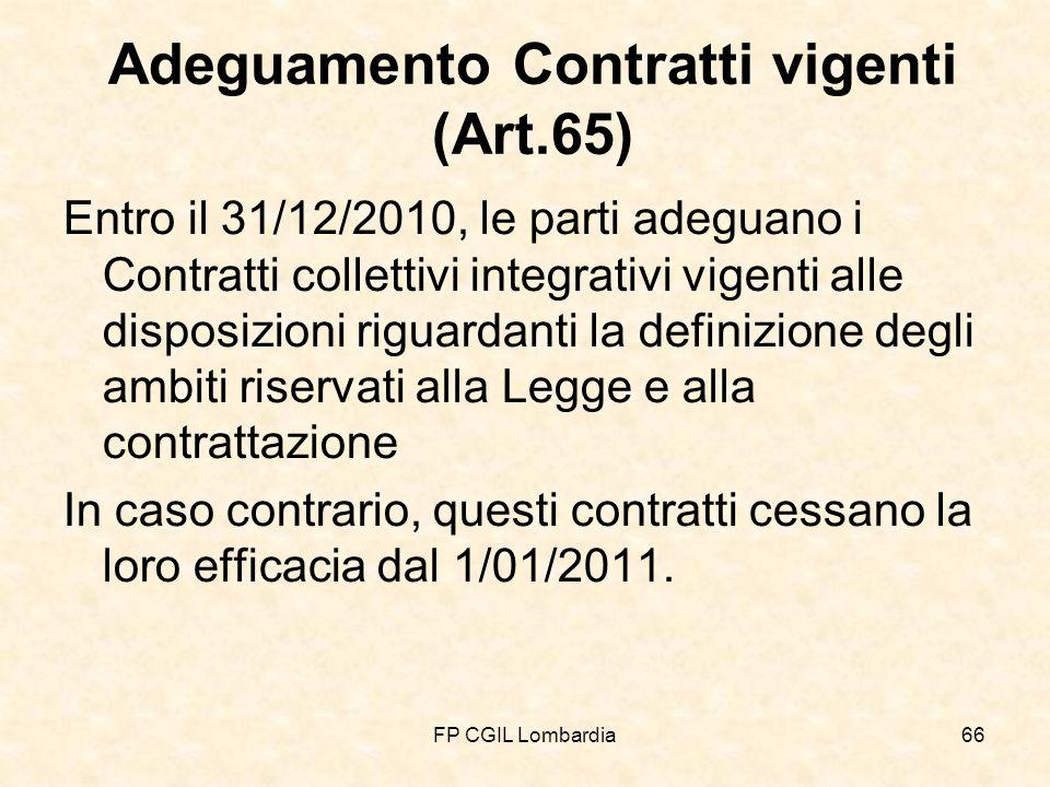 FP CGIL Lombardia66 Adeguamento Contratti vigenti (Art.65) Entro il 31/12/2010, le parti adeguano i Contratti collettivi integrativi vigenti alle disposizioni riguardanti la definizione degli ambiti riservati alla Legge e alla contrattazione In caso contrario, questi contratti cessano la loro efficacia dal 1/01/2011.
