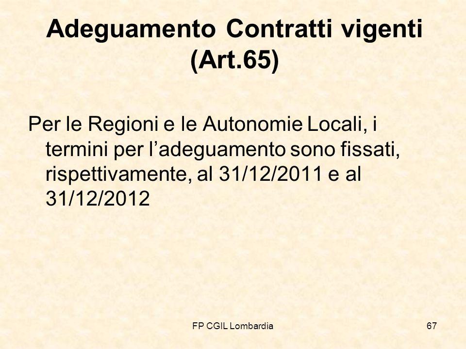 FP CGIL Lombardia67 Adeguamento Contratti vigenti (Art.65) Per le Regioni e le Autonomie Locali, i termini per ladeguamento sono fissati, rispettivamente, al 31/12/2011 e al 31/12/2012