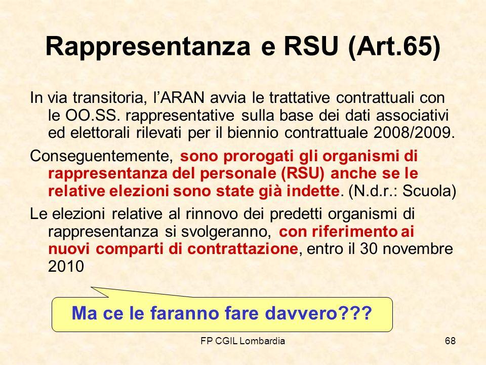 FP CGIL Lombardia68 Rappresentanza e RSU (Art.65) In via transitoria, lARAN avvia le trattative contrattuali con le OO.SS.