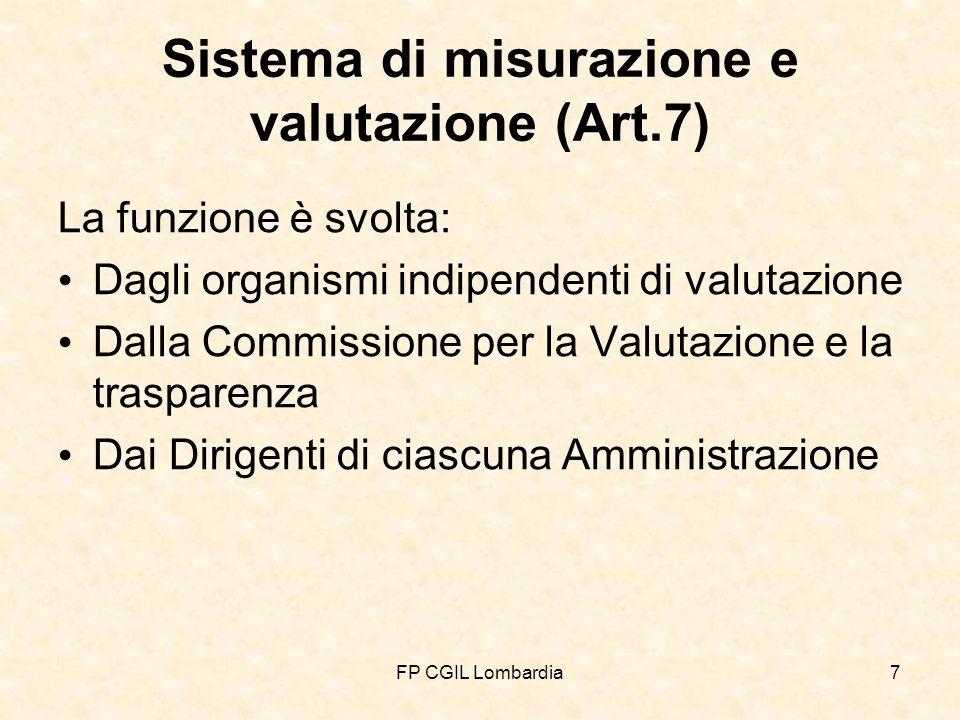 FP CGIL Lombardia7 Sistema di misurazione e valutazione (Art.7) La funzione è svolta: Dagli organismi indipendenti di valutazione Dalla Commissione per la Valutazione e la trasparenza Dai Dirigenti di ciascuna Amministrazione