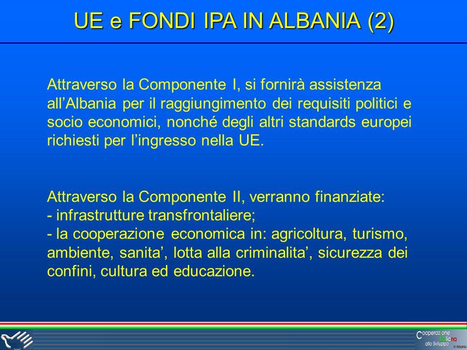 UE e FONDI IPA IN ALBANIA (2) Attraverso la Componente I, si fornirà assistenza allAlbania per il raggiungimento dei requisiti politici e socio economici, nonché degli altri standards europei richiesti per lingresso nella UE.