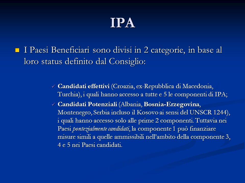 IPA I Paesi Beneficiari sono divisi in 2 categorie, in base al loro status definito dal Consiglio: I Paesi Beneficiari sono divisi in 2 categorie, in