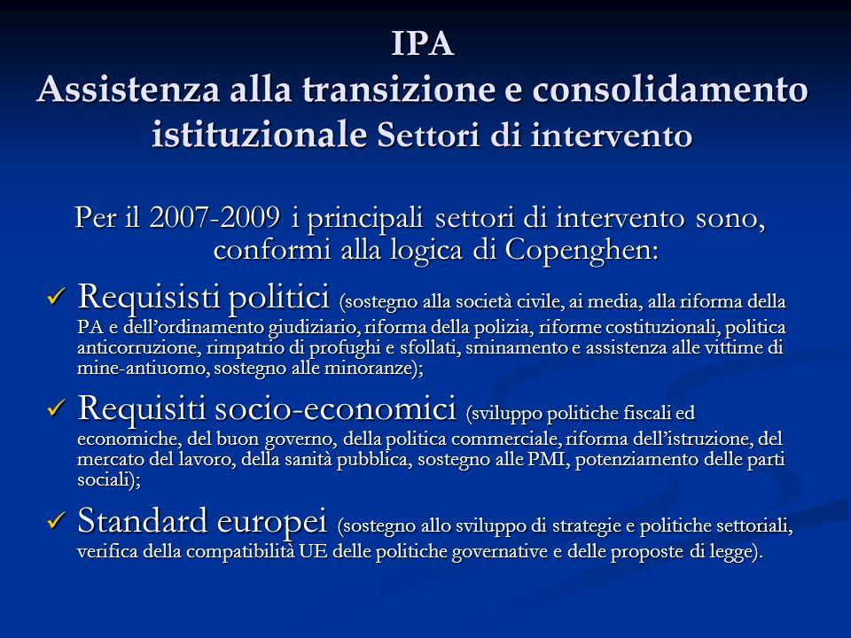 IPA Assistenza alla transizione e consolidamento istituzionale Settori di intervento Per il 2007-2009 i principali settori di intervento sono, conform