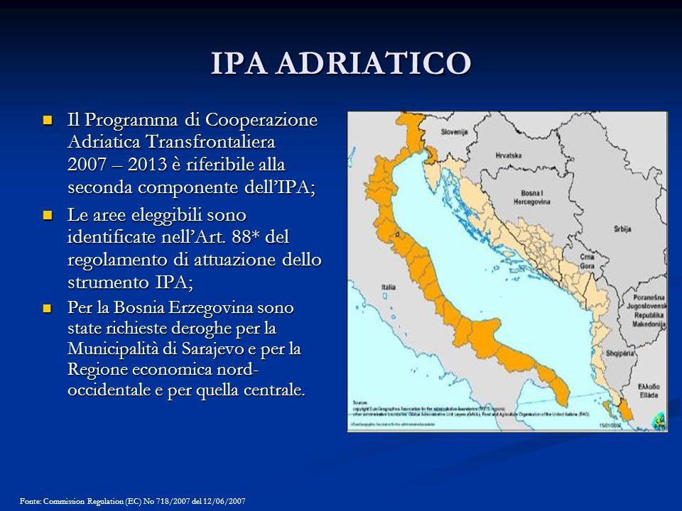 IPA ADRIATICO Il Programma di Cooperazione Adriatica Transfrontaliera 2007 – 2013 è riferibile alla seconda componente dellIPA; Il Programma di Cooper