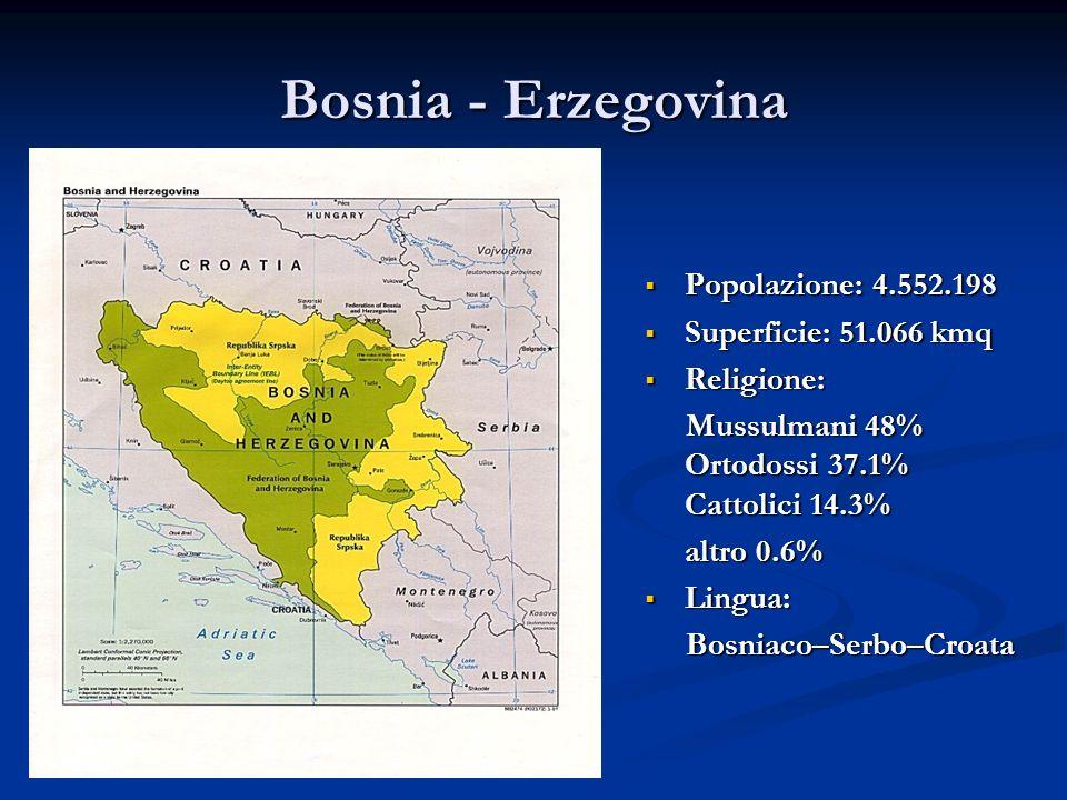 Bosnia - Erzegovina Popolazione: 4.552.198 Superficie: 51.066 kmq Religione: Mussulmani 48% Ortodossi 37.1% Cattolici 14.3% altro 0.6% Lingua: Bosniac