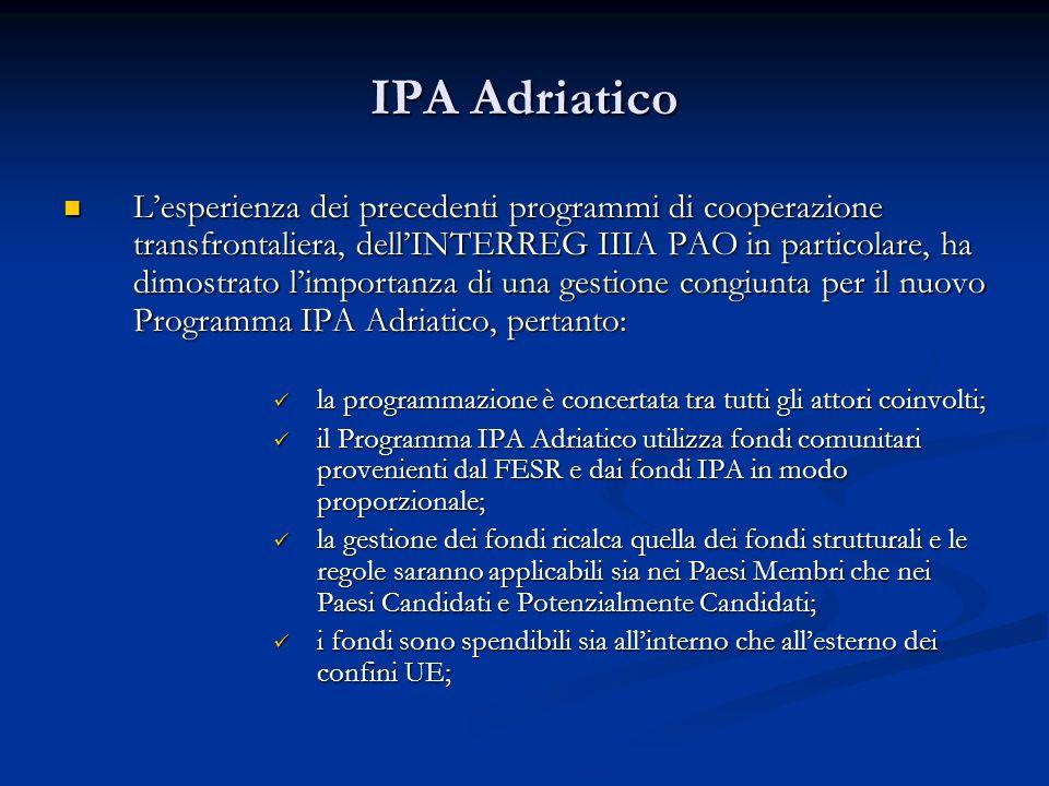 IPA Adriatico Lesperienza dei precedenti programmi di cooperazione transfrontaliera, dellINTERREG IIIA PAO in particolare, ha dimostrato limportanza d
