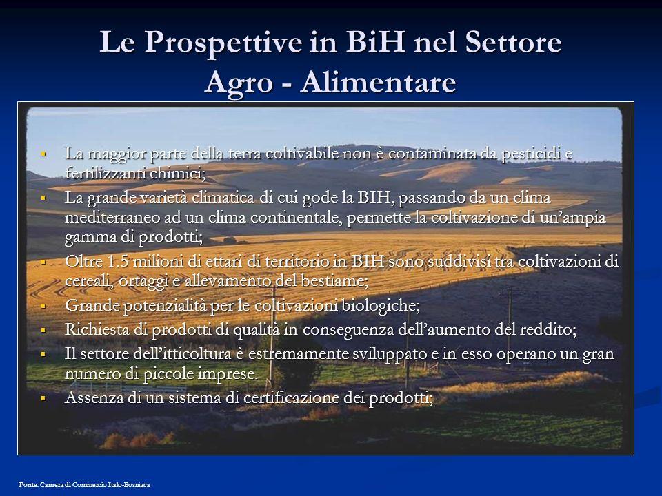 Le Prospettive in BiH nel Settore Agro - Alimentare La maggior parte della terra coltivabile non è contaminata da pesticidi e fertilizzanti chimici; L
