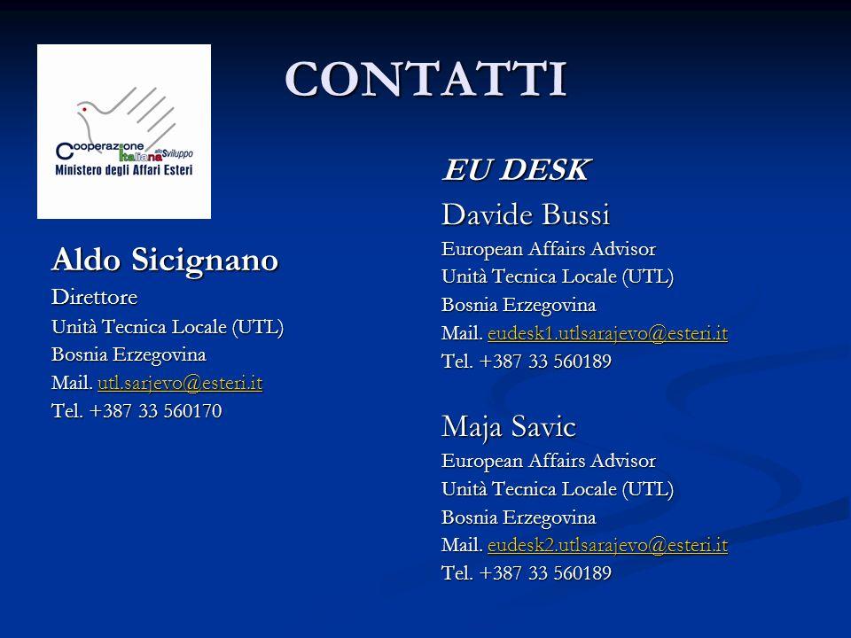 CONTATTI Aldo Sicignano Direttore Unità Tecnica Locale (UTL) Bosnia Erzegovina Mail. utl.sarjevo@esteri.it utl.sarjevo@esteri.it Tel. +387 33 560170 E