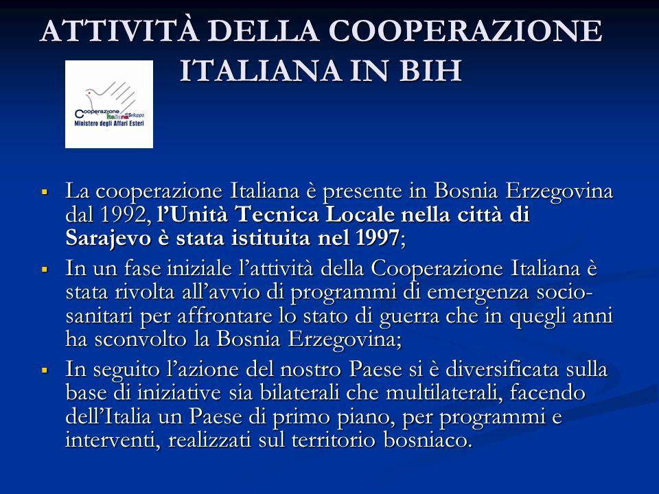 ATTIVITÀ DELLA COOPERAZIONE ITALIANA IN BIH La cooperazione Italiana è presente in Bosnia Erzegovina dal 1992, lUnità Tecnica Locale nella città di Sa
