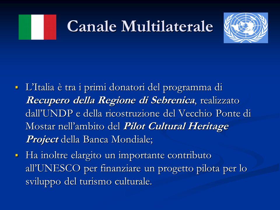 Canale Multilaterale LItalia è tra i primi donatori del programma di Recupero della Regione di Sebrenica, realizzato dallUNDP e della ricostruzione de