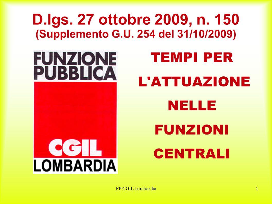 FP CGIL Lombardia1 D.lgs. 27 ottobre 2009, n. 150 (Supplemento G.U.