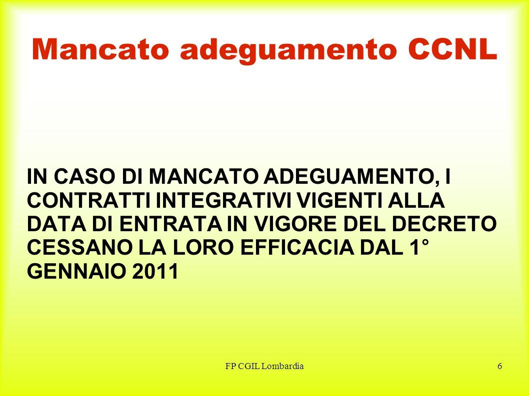 FP CGIL Lombardia6 Mancato adeguamento CCNL IN CASO DI MANCATO ADEGUAMENTO, I CONTRATTI INTEGRATIVI VIGENTI ALLA DATA DI ENTRATA IN VIGORE DEL DECRETO CESSANO LA LORO EFFICACIA DAL 1° GENNAIO 2011