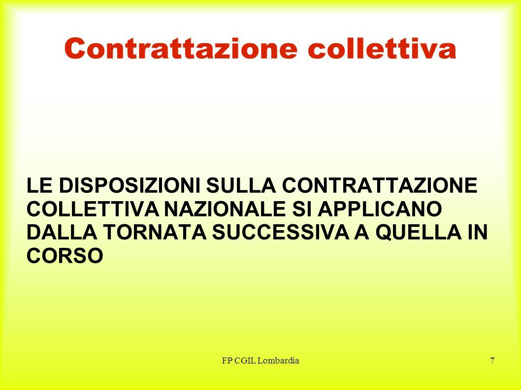FP CGIL Lombardia7 Contrattazione collettiva LE DISPOSIZIONI SULLA CONTRATTAZIONE COLLETTIVA NAZIONALE SI APPLICANO DALLA TORNATA SUCCESSIVA A QUELLA IN CORSO