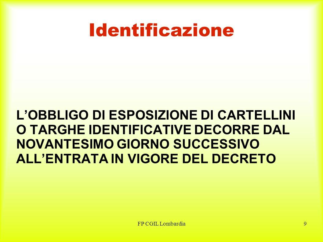 FP CGIL Lombardia9 Identificazione LOBBLIGO DI ESPOSIZIONE DI CARTELLINI O TARGHE IDENTIFICATIVE DECORRE DAL NOVANTESIMO GIORNO SUCCESSIVO ALLENTRATA IN VIGORE DEL DECRETO