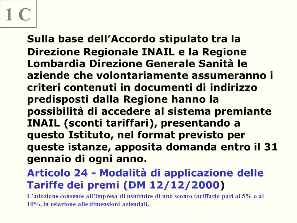 Sulla base dellAccordo stipulato tra la Direzione Regionale INAIL e la Regione Lombardia Direzione Generale Sanità le aziende che volontariamente assu