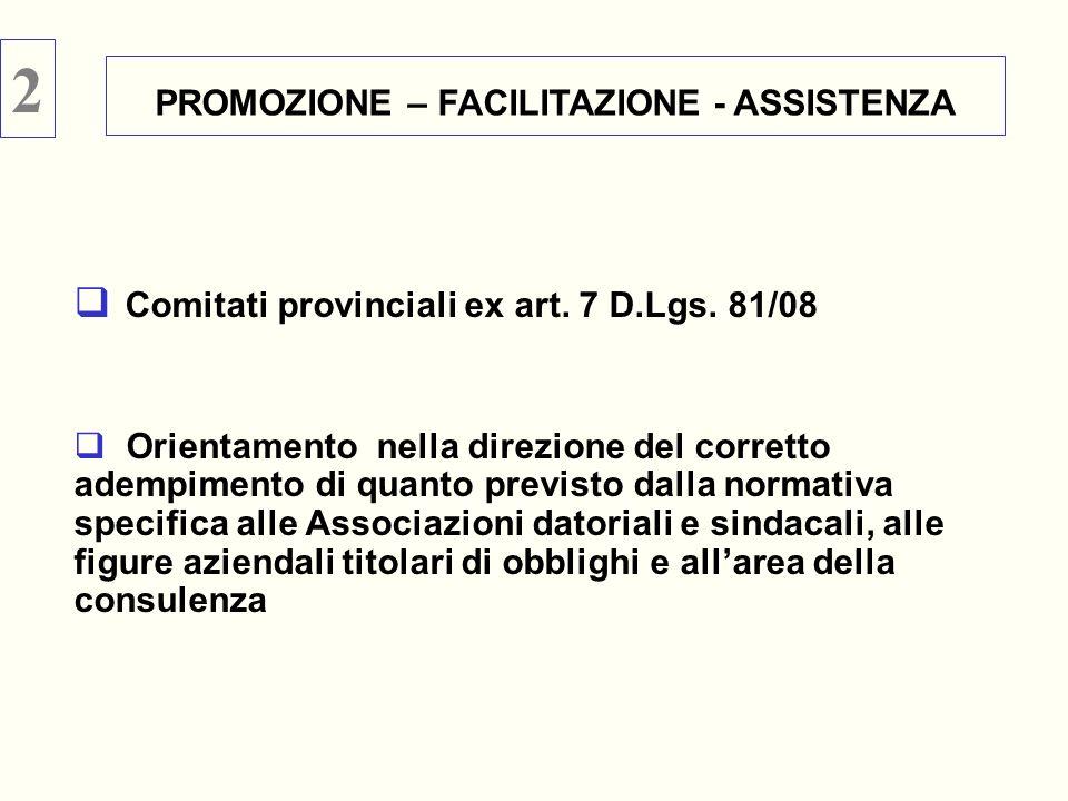Comitati provinciali ex art. 7 D.Lgs. 81/08 Orientamento nella direzione del corretto adempimento di quanto previsto dalla normativa specifica alle As